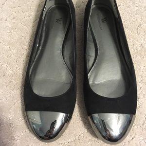 Worthington black flats with metallic toe